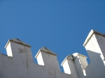White fortification on blue sky